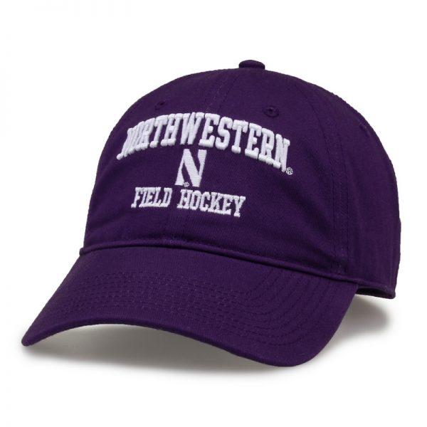 Northwestern University Wildcats Unconstructed Purple Cotton Twill Hat with Field Hockey Design