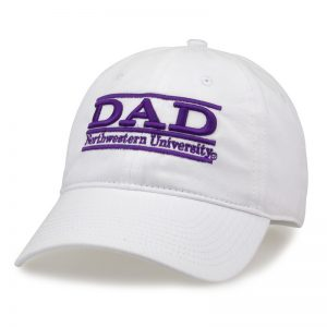 Northwestern University Wildcats Unconstructed White Cotton Twill Hat with Dad Bar Design
