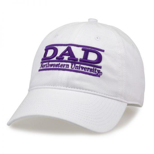 Northwestern University Wildcats Unconstructed White Cotton Twill Hat with Dad Bar Design
