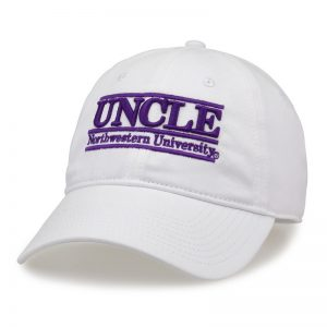 Northwestern University Wildcats Unconstructed White Cotton Twill Hat with Uncle Bar Design