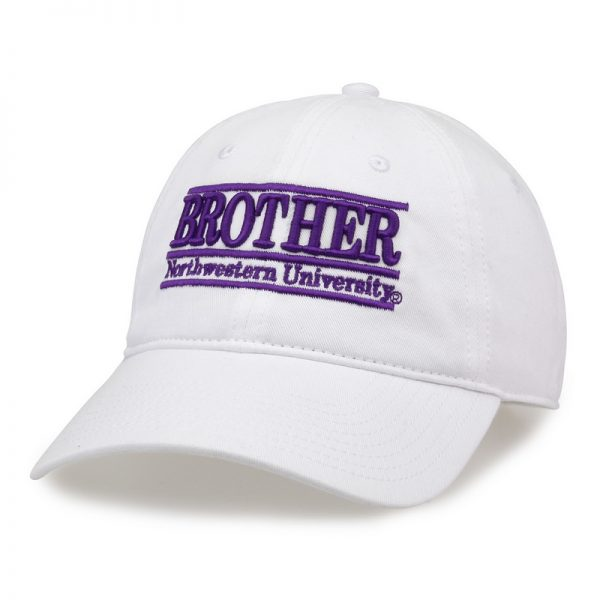 Northwestern University Wildcats Unconstructed White Cotton Twill Hat with Brother Bar Design