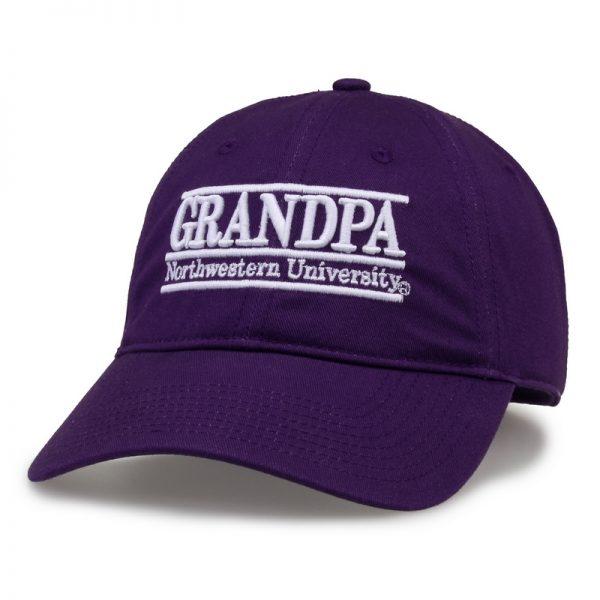Northwestern University Wildcats Unconstructed Purple Cotton Twill Hat with Grandpa Bar Design