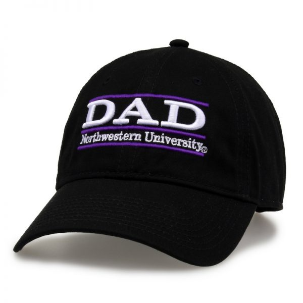 Northwestern University Wildcats Unconstructed Black Cotton Twill Hat with Dad Bar Design