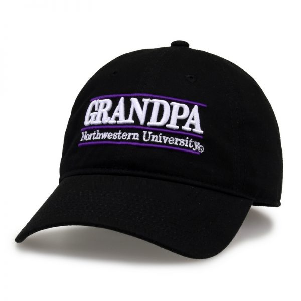 Northwestern University Wildcats Unconstructed Black Cotton Twill Hat with Grandpa Bar Design
