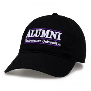 Northwestern University Wildcats Unconstructed Black Cotton Twill Hat with Alumni Bar Design