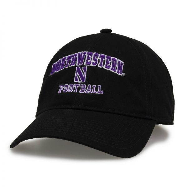 Northwestern University Wildcats Unconstructed Black Cotton Twill Hat with Football Design
