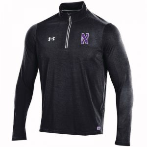 Northwestern University Wildcats Men's Under Armour Black SLQZ19 Sideline 1/4 Zip With Stylized N Design