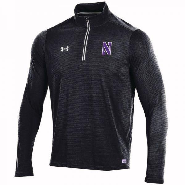 Northwestern University Wildcats Men's Under Armour Black SLQZ19 Sideline 1/4 Zip With Stylized N Design