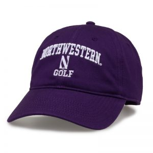 Northwestern University Wildcats Unconstructed Purple Cotton Twill Hat with Golf Design