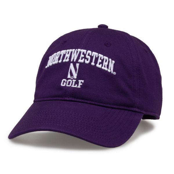 Northwestern University Wildcats Unconstructed Purple Cotton Twill Hat with Golf Design