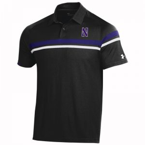 Northwestern University Wildcats Men's Under Armour Tour Drive Black Sideline Polo shirt