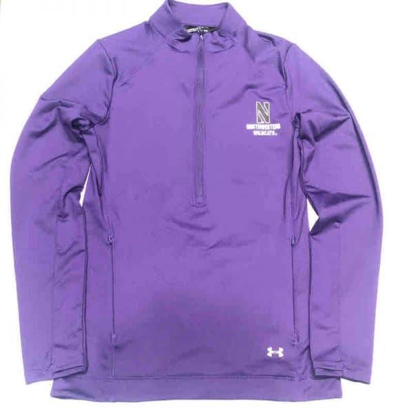 Northwestern University Wildcats Ladies Under Armour Purple Honeycomb Knit 1/4 Zip With Stylized N Design-3