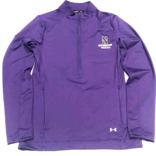 Northwestern University Wildcats Ladies Under Armour Purple Honeycomb Knit 1/4 Zip With Stylized N Design-2