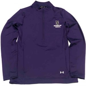 Northwestern University Wildcats Ladies Under Armour Purple Honeycomb Knit 1/4 Zip With Stylized N Design