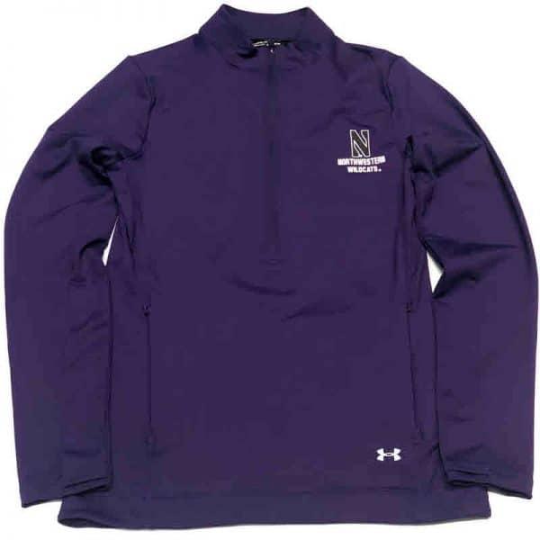 Northwestern University Wildcats Ladies Under Armour Purple Honeycomb Knit 1/4 Zip With Stylized N Design