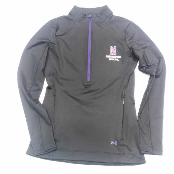 Northwestern University Wildcats Ladies Under Armour Black Honeycomb Knit 1/4 Zip With Stylized N Design