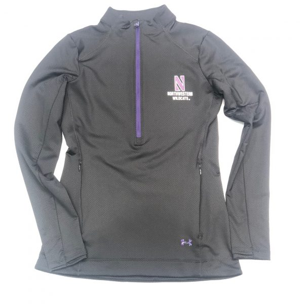 Northwestern University Wildcats Ladies Under Armour Black Honeycomb Knit 1/4 Zip With Stylized N Design-2