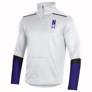 Northwestern University Wildcats Men's Under Armour White SLQZ Sideline 1/4 Zip With Stylized N Design