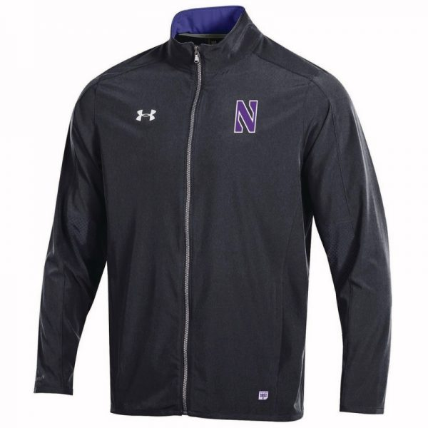 Northwestern University Wildcats Men's Under Armour Black/Purple Sideline Lightweight Jacket With Stylized N Design