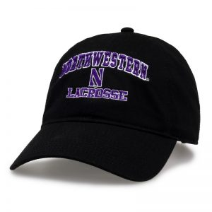 Northwestern University Wildcats Unconstructed Black Cotton Twill Hat with Lacrosse Design