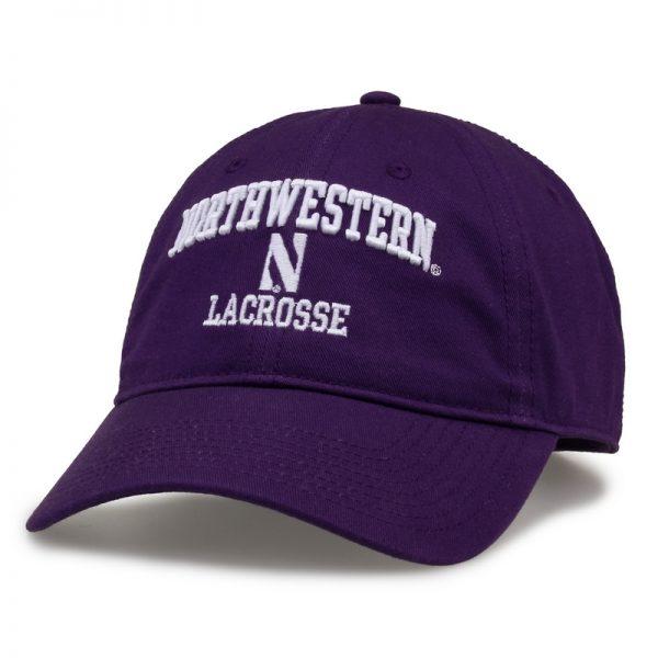 Northwestern University Wildcats Unconstructed Purple Cotton Twill Hat with Lacrosse Design