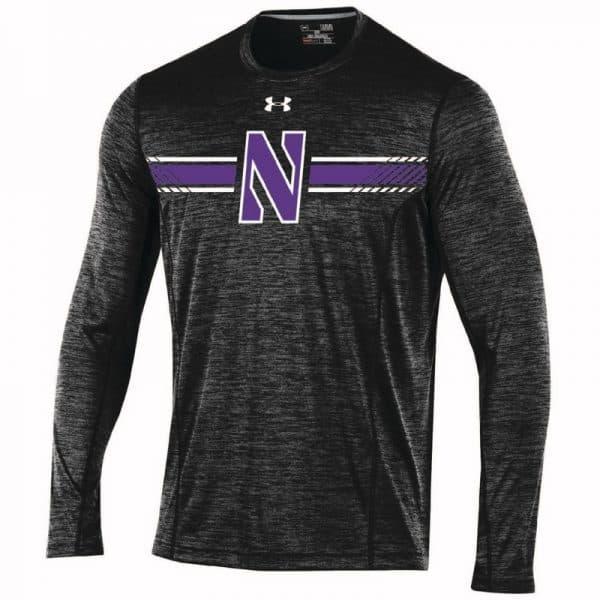Northwestern University Wildcats Men's Under Armour Sideline Black Microthread Long Sleeve Sleeve Tee