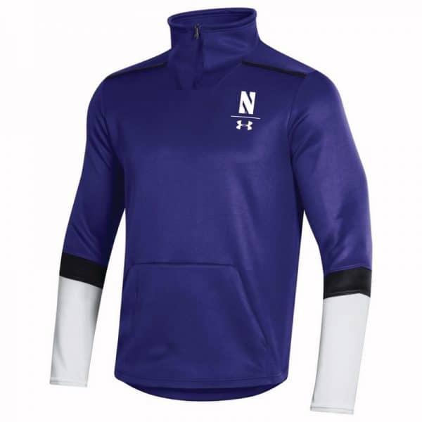 Northwestern University Wildcats Men's Under Armour Purple SLQZ Sideline 1/4 Zip With Stylized N Design