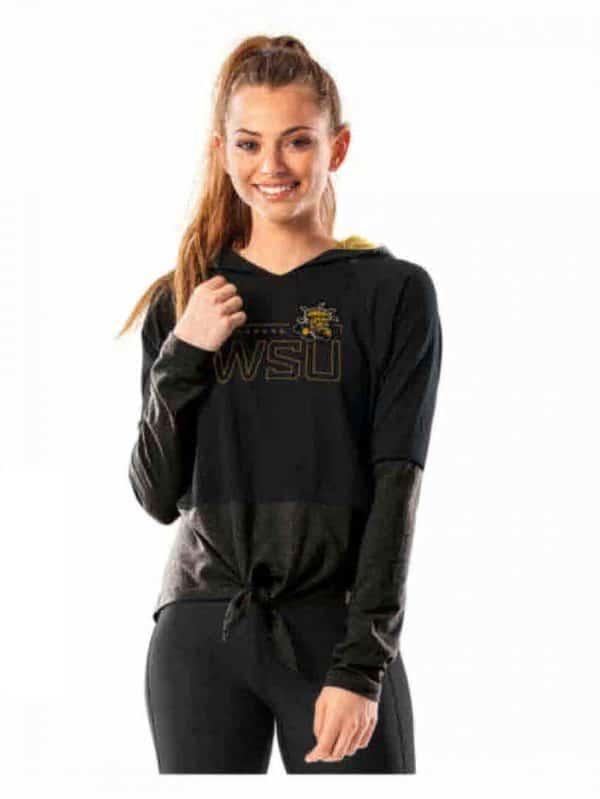 Northwestern University Wildcats Ladies Under Armour Purple / Grey Training Camp Tie Hood Tee Shirt-3