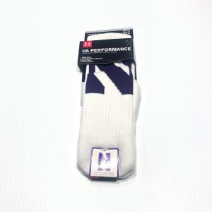 Northwestern University Wildcats Adult Under Armour White Crew Sock With Oversized Stylized N Design