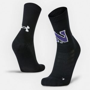 Northwestern University Wildcats Adult Under Armour Black Unrivaled Crew Sock