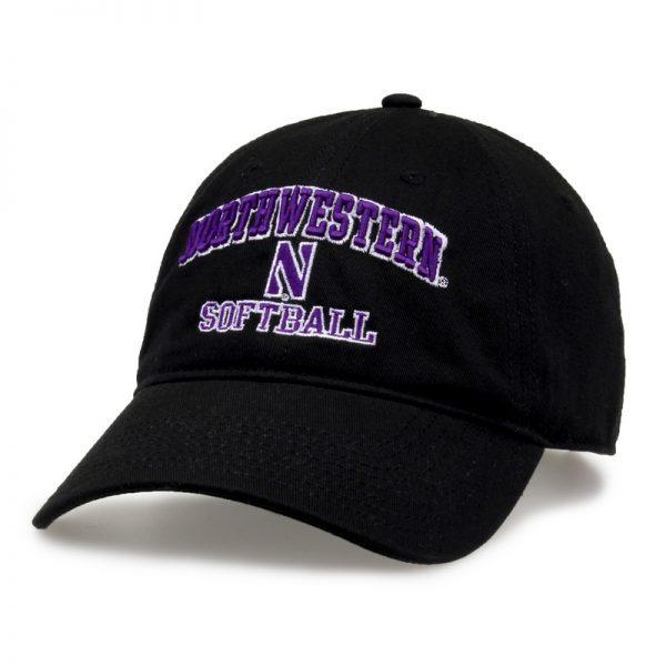 Northwestern University Wildcats Unconstructed Black Cotton Twill Hat with Softball Design