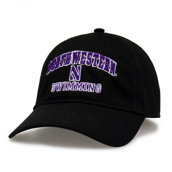 Northwestern University Wildcats Unconstructed Black Cotton Twill Hat with Swimming Design