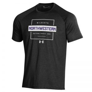Northwestern University Wildcats Men's Under Armour Black Tech Novelty Short Sleeve Tee