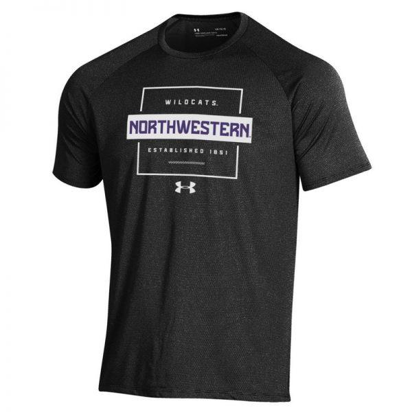 Northwestern University Wildcats Men's Under Armour Black Tech Novelty Short Sleeve Tee