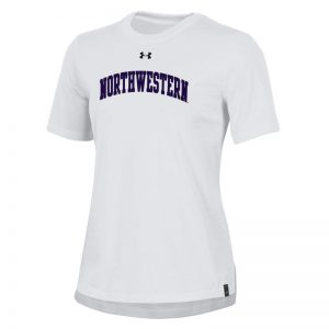 Ladies Under Armour White Performance Cotton Short Sleeve Tee With Northwestern Arch Design