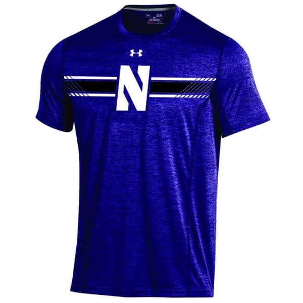Northwestern University Wildcats Men's Under Armour Sideline Purple Microthread Short Sleeve Tee