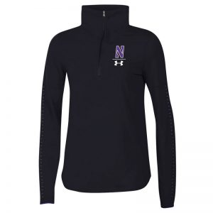 Northwestern University Wildcats Ladies Under Armour Black SLQZ18 Sideline 1/4 Zip With Stylized N Design