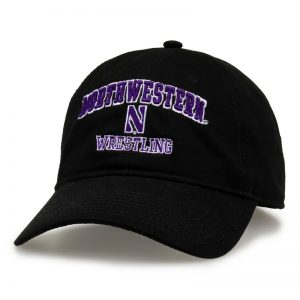 Northwestern University Wildcats Unconstructed Black Cotton Twill Hat with Wrestling Design