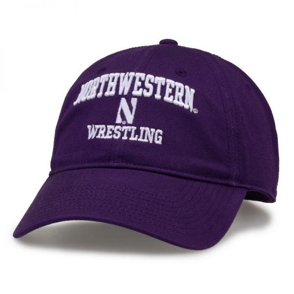 Northwestern University Wildcats Unconstructed Purple Cotton Twill Hat with Wrestling Design