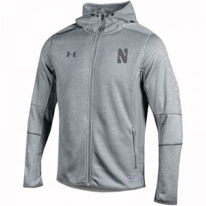 Northwestern University Wildcats Men's Under Armour Marbalized Grey Fleece Lined Softshell Jacket With Stylized N Design