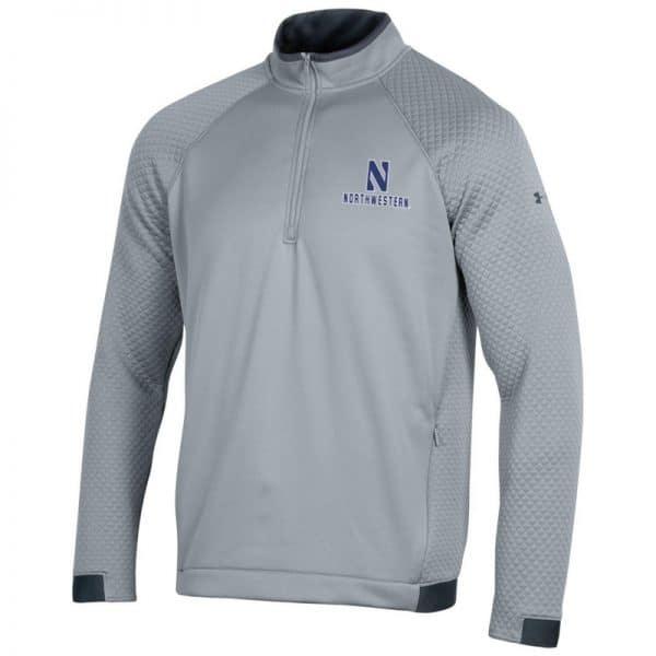 Northwestern University Wildcats Men's Under Armour Steel HD 1/4 Zip With Stylized N Design