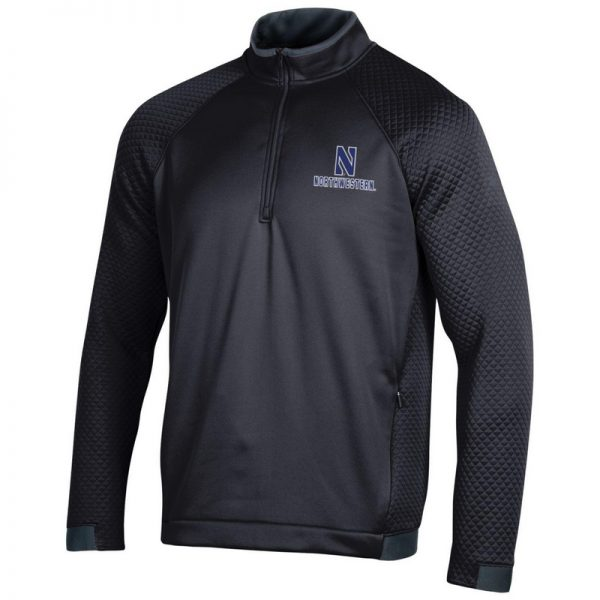 Northwestern University Wildcats Men's Under Armour Black HD 1/4 Zip With Stylized N Design