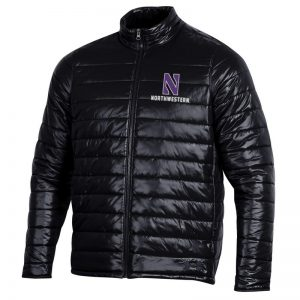 Northwestern University Wildcats Men's Under Armour Black Puffer Jacket With Stylized N Design
