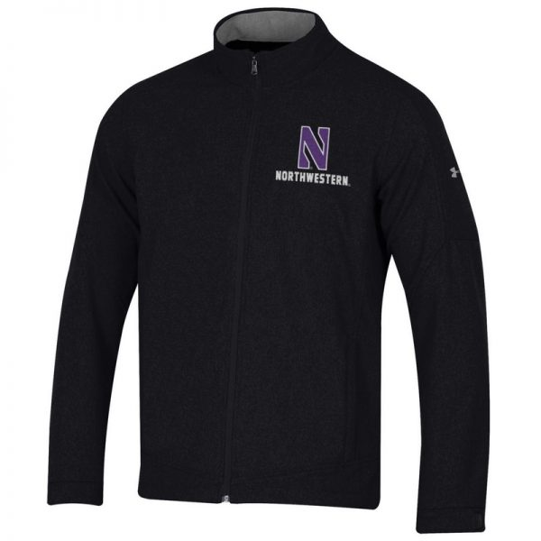 Northwestern University Wildcats Men's Under Armour Black Softshell Jacket With Stylized N Design