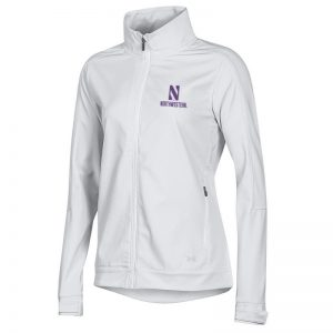 Northwestern University Wildcats Ladies Under Armour White Softshell Jacket With Stylized N Design