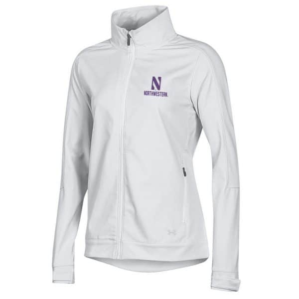 Northwestern University Wildcats Ladies Under Armour White Softshell Jacket With Stylized N Design