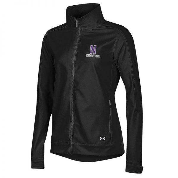 Northwestern University Wildcats Ladies Under Armour Black Softshell Jacket With Stylized N Design