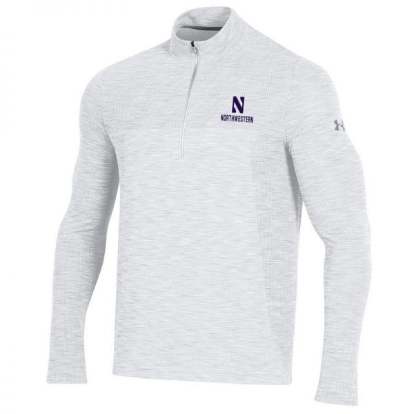 Northwestern University Wildcats Men's Under Armour Elemental Novelty Vanish Seamless 1/4 Zip With Stylized N Design
