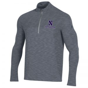 Northwestern University Wildcats Men's Under Armour Steel Novelty Vanish Seamless 1/4 Zip With Stylized N Design