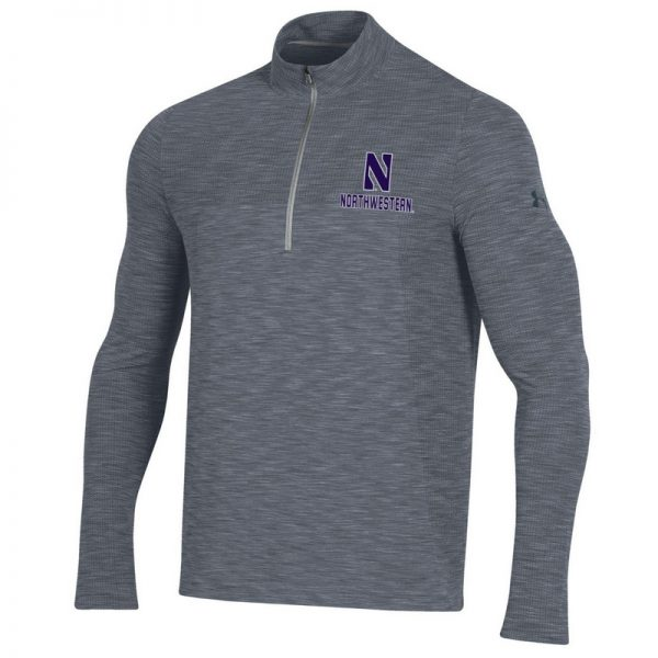 Northwestern University Wildcats Men's Under Armour Steel Novelty Vanish Seamless 1/4 Zip With Stylized N Design